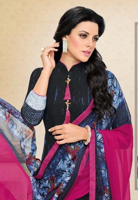 Black Color Chanderi Cotton Salwar Suit sty-108
