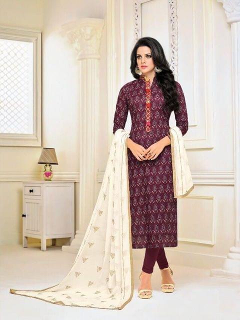 Purple Color Chanderi Cotton Salwar Suit sty-110