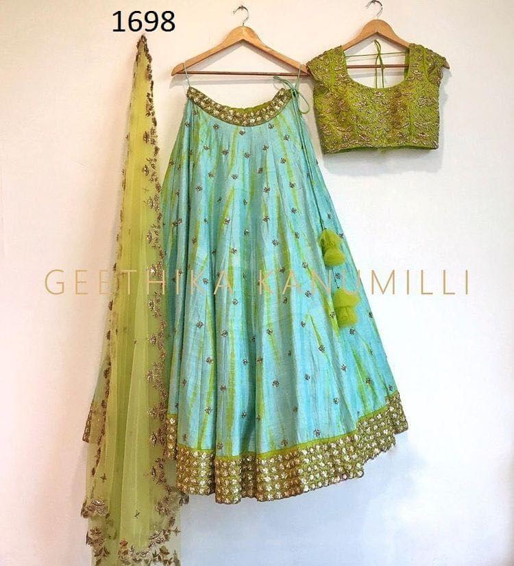 Sea Green  Color  Art SIlk Embroidered Party Wear Lehenga Choli