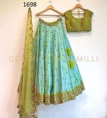 Sea Green  Color  Art SIlk Embroidered Party Wear Lehenga Choli