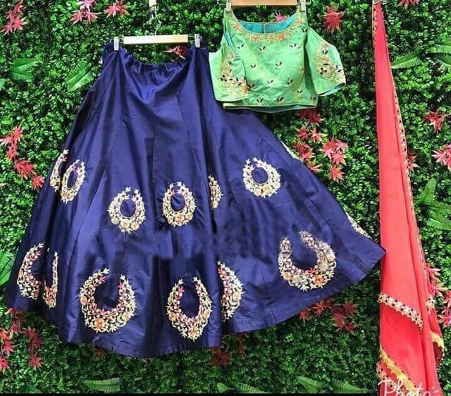 Blue Color  Art SIlk Embroidered Party Wear Lehenga Choli