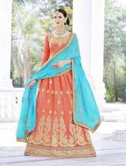 Light Orange Color Designer Embroidery Work Lehenga Choli  24462