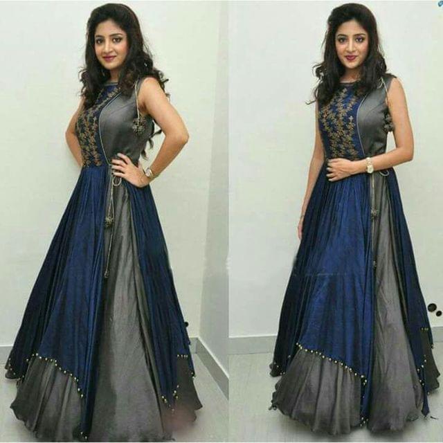 Grey Color Plain Party wear Anarkali Salwar Suit sty-1101