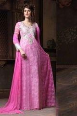 Pink Net Long Partywear Gown Blipink-1
