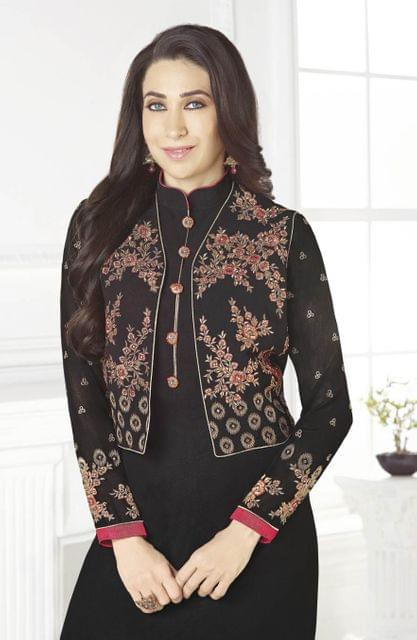 Black Color Designer Semi Stitched Suit 26204