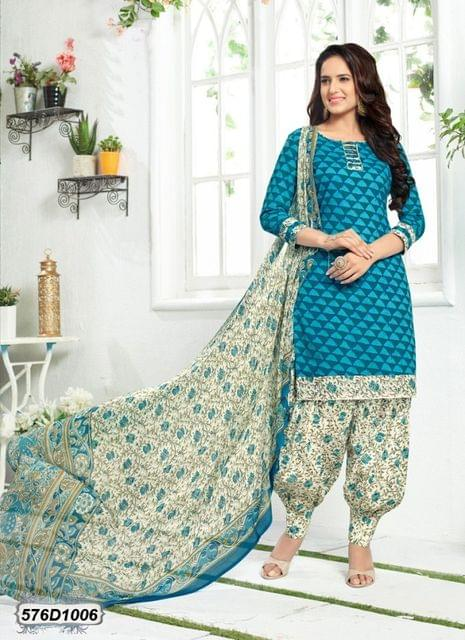 Blue Color Poly Cotton Salwar Suit 576D1006