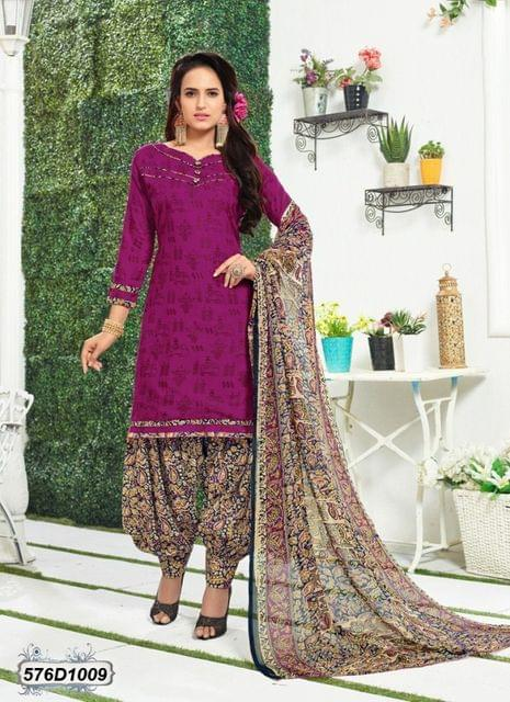 Pink Color Poly Cotton Salwar Suit 576D1009