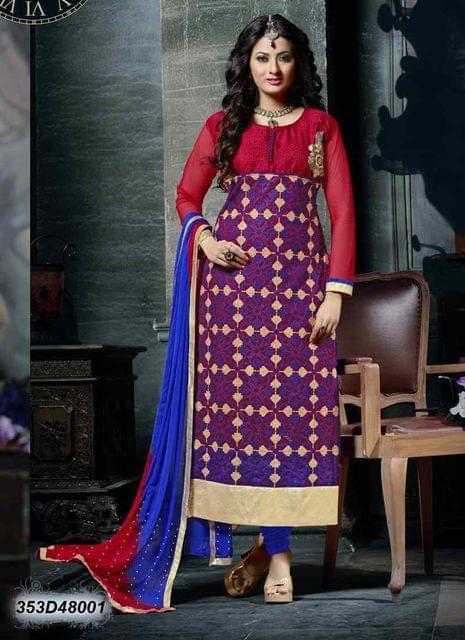 Red  & Blue Color Net & Bhagalpuri Silk Salwar Suit 353D48001