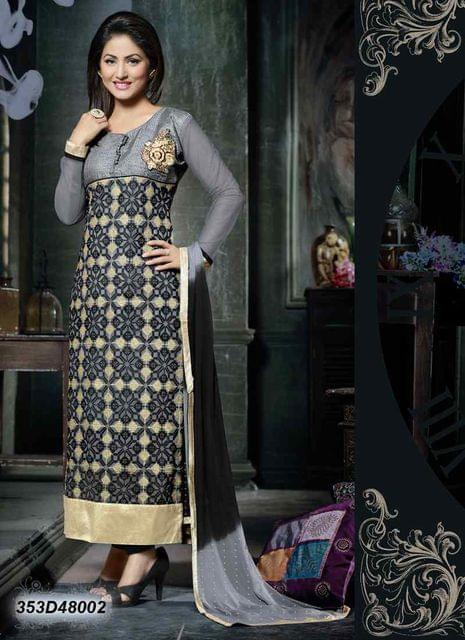 Grey Color Net & Bhagalpuri Silk Salwar Suit 353D48002