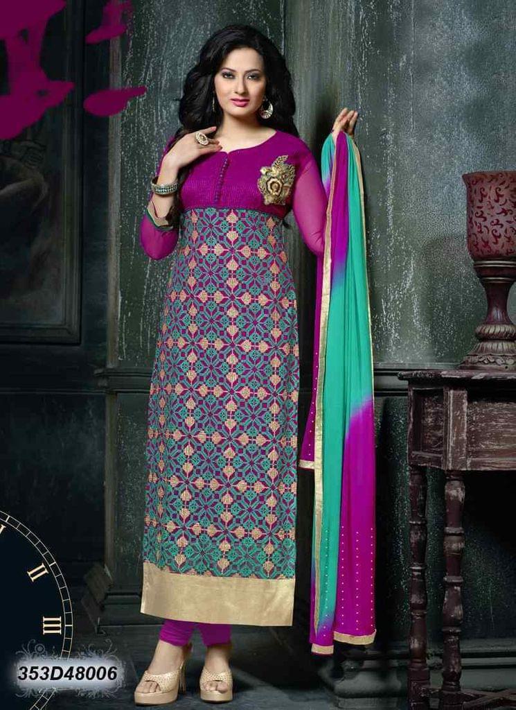 Pink Color Net & Bhagalpuri Silk Salwar Suit 353D48006