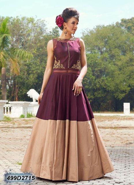 WineColor Pure  Taffeta Salwar Suit499D2715