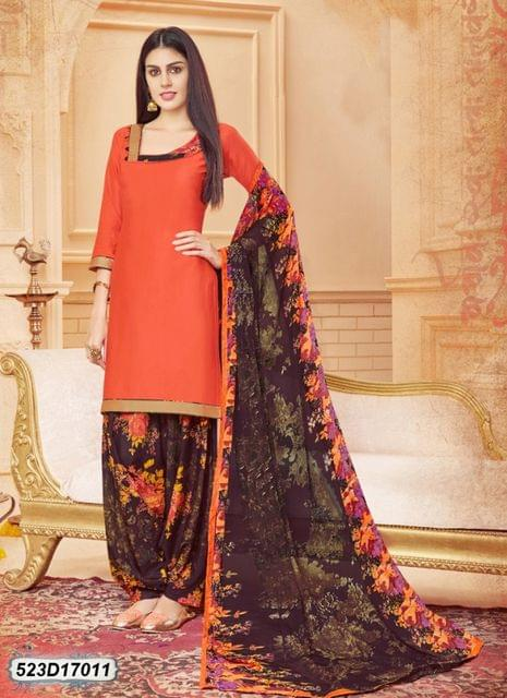 Orange Color Glace Cotton Salwar Suit 523D17011