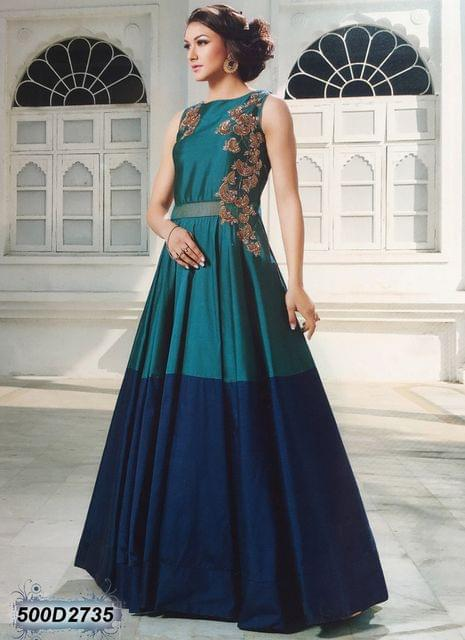 Blue & Green Color Tagetta( Dual color) Salwar Suit  500D2735