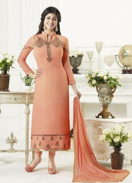Light Orange Color Georgette Semi Stitched Salwar Suit 26477
