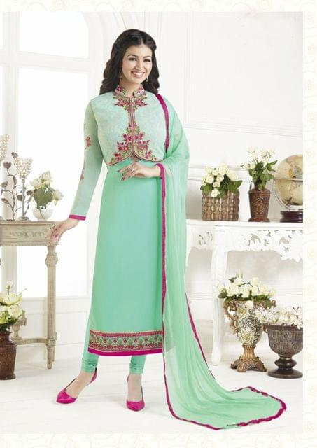 Sky Blue Color Georgette Semi Stitched Salwar Suit 26478