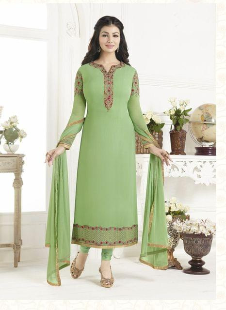 Light parrot Color Georgette Semi Stitched Salwar Suit 26480