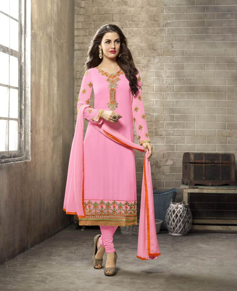 Light Pink Color Georgette Semi Stitched Salwar Suit 26497