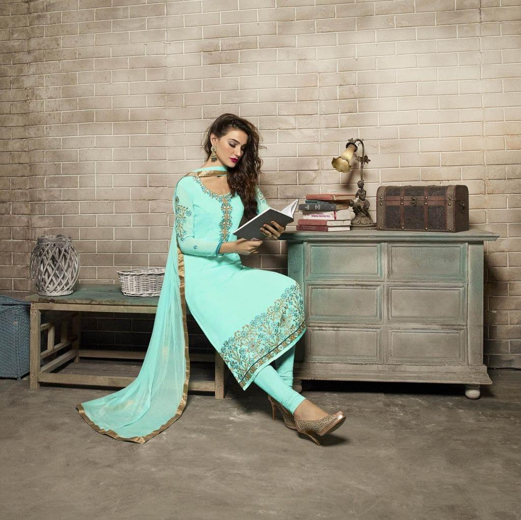 Sky Blue Color Georgette Semi Stitched Salwar Suit 26499