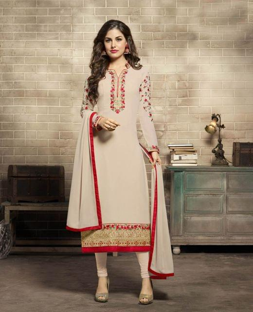 Light Biege Color Georgette Semi Stitched Salwar Suit 26498