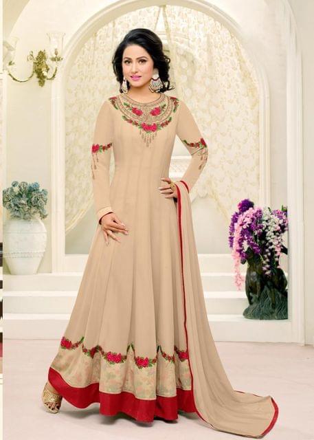 Light Beige Color Georgette Semi Stitched Salwar Suit 26532
