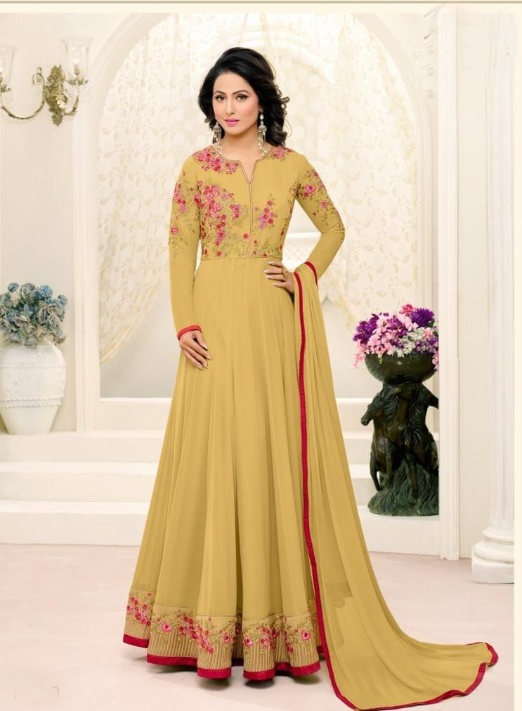 Light Mahendi Color Georgette Semi Stitched Salwar Suit 26536