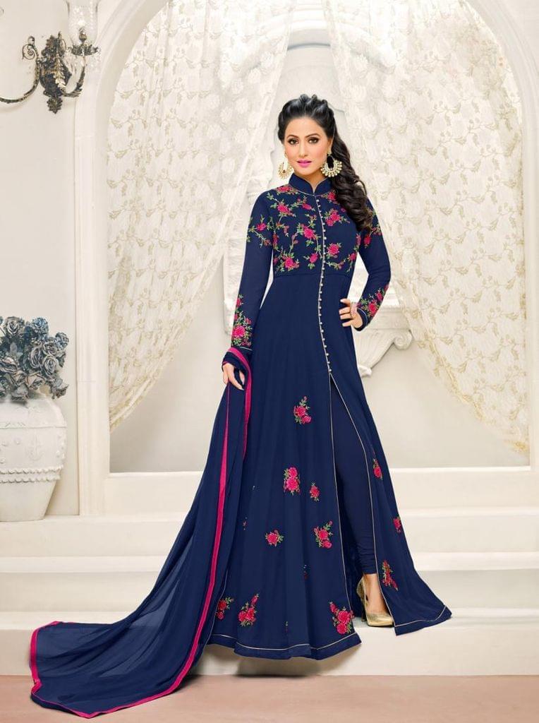 Navy Blue Color Georgette Semi Stitched Salwar Suit 26537