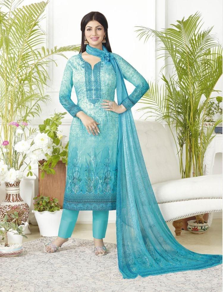 Sky Blue Color Pure Lawn Cotton Semi Stitched Salwar Suit 26524