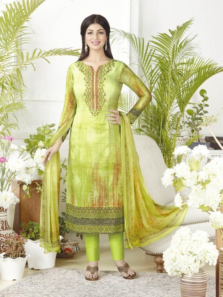 Light Parrot Color Pure Lawn Cotton Semi Stitched Salwar Suit 26526