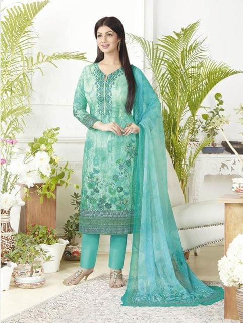 Sky Blue Color Pure Lawn Cotton Semi Stitched Salwar Suit 26528