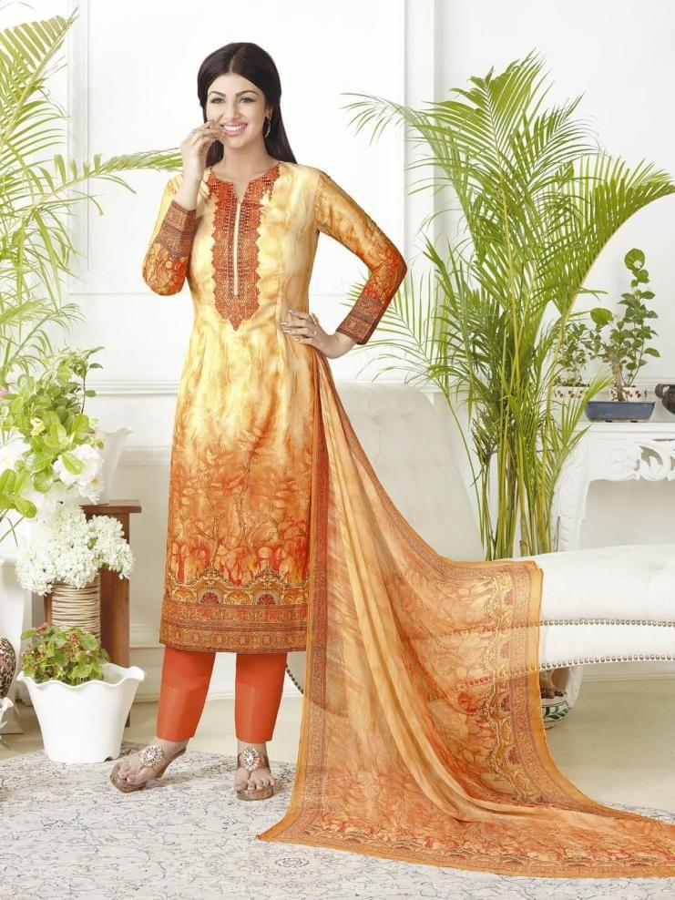 Orange & yellow Color Pure Lawn Cotton Semi Stitched Salwar Suit 26523