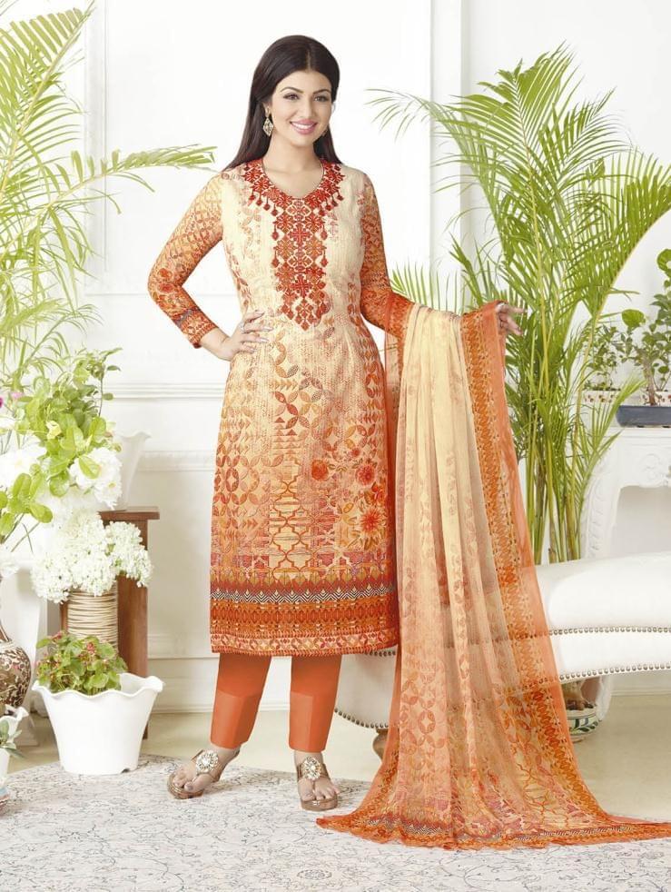 Orange Color Pure Lawn Cotton Semi Stitched Salwar Suit 26525