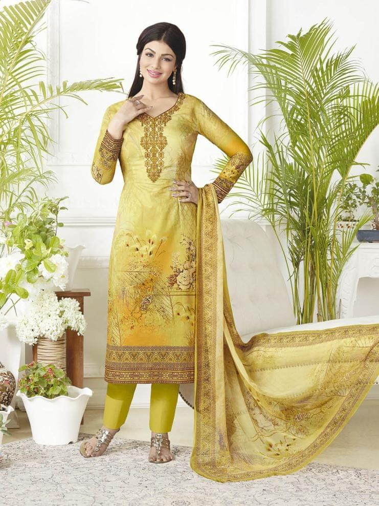 Multi Color Pure Lawn Cotton Semi Stitched Salwar Suit 26527