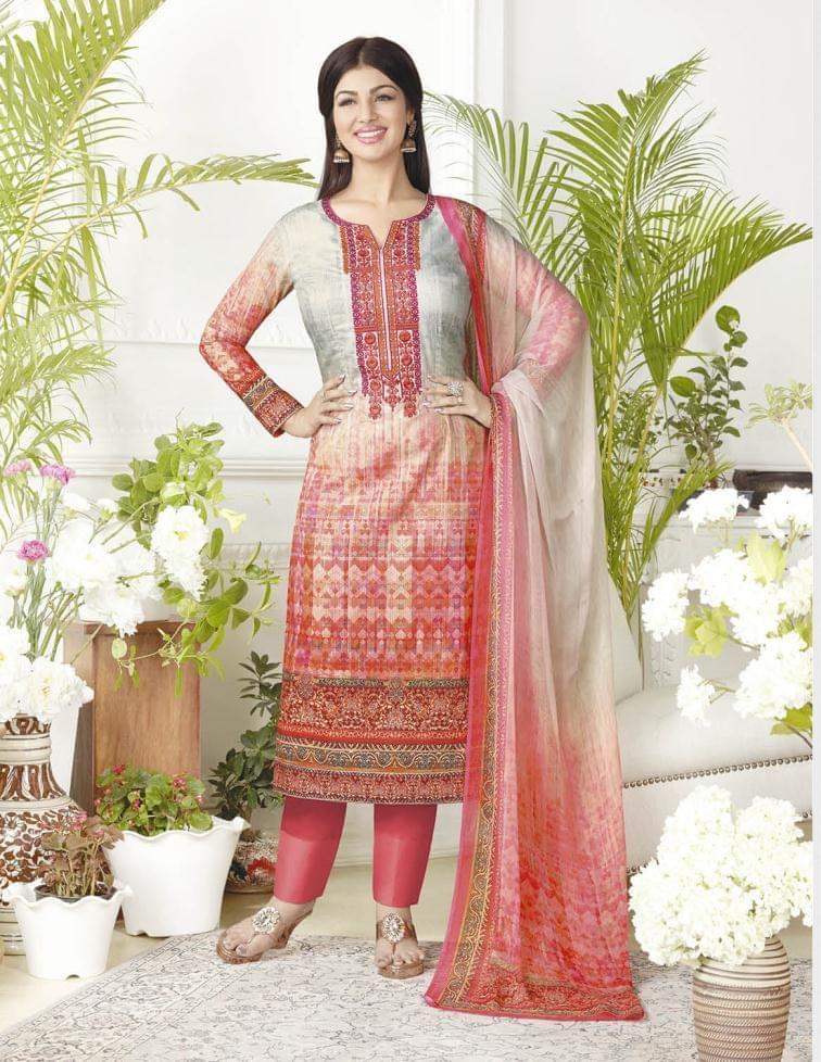 Multi Color Pure Lawn Cotton Semi Stitched Salwar Suit 26529