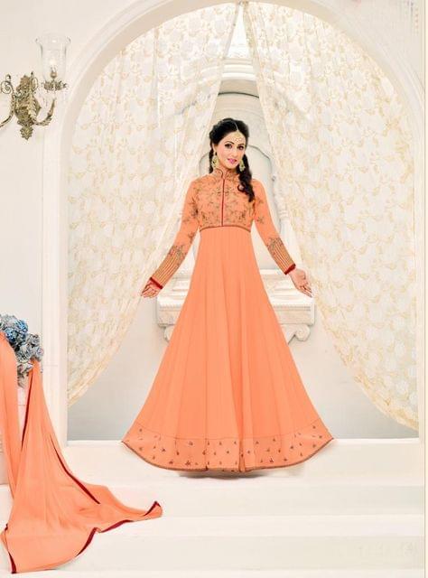 Light orange Color Georgette Semi Stitched Salwar Suit 26531
