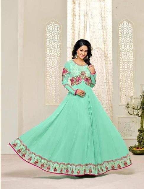 Sky Blue Color Georgette Semi Stitched Salwar Suit 26535