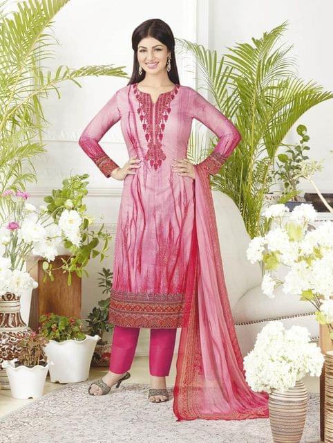 Pink Color Pure Lawn Cotton Semi Stitched Salwar Suit 26530
