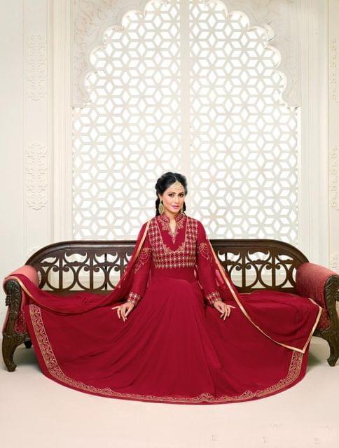 Maroon Color Georgette Semi Stitched Salwar Suit 26534