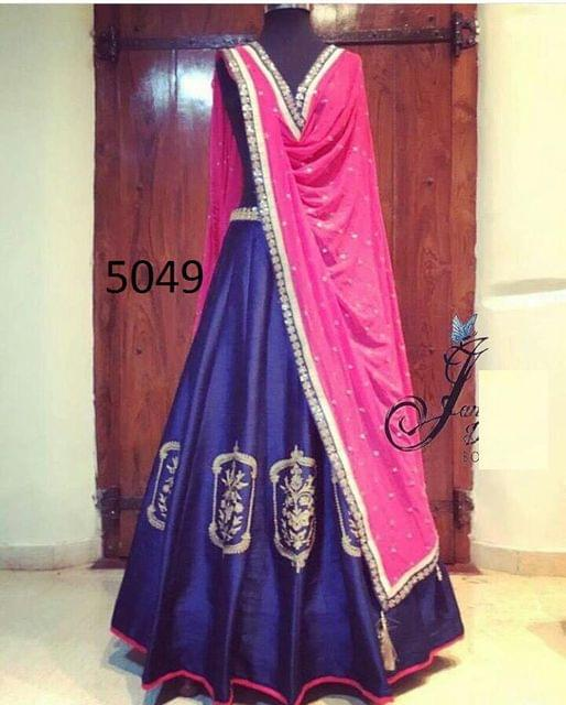 Blue & Pink Color Taffeta Silk Lehenga Choli 5049