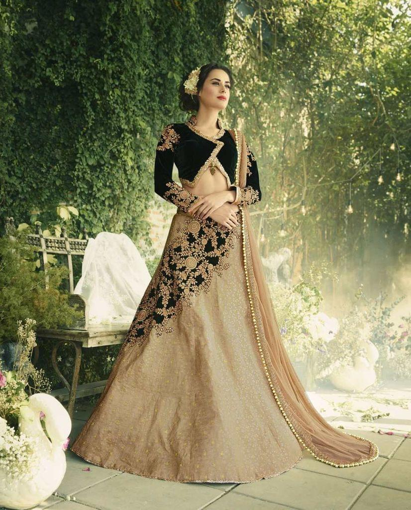 Olive Green & Beige Color Jacquard &  Velvet Heavy Lehenga Choli 26751