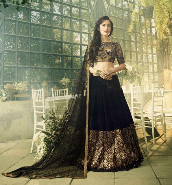 Black Color Velvet & Jacquard Heavy Lehenga Choli 26755