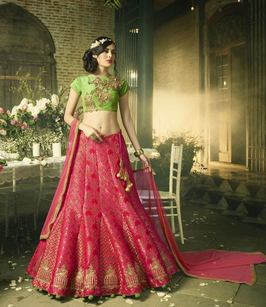 Pink Color Art Silk & Jacquard Heavy Lehenga Choli 26752