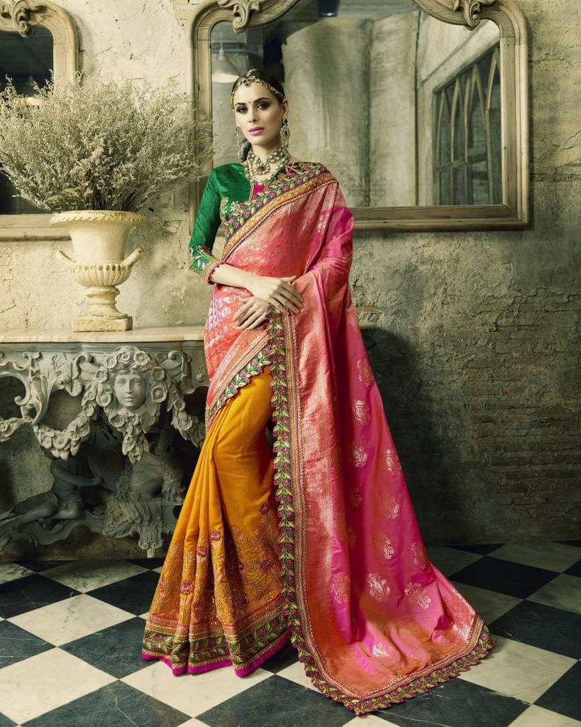 Pink & Orange Color Heavy Designer Bridal Wear Saree 26768