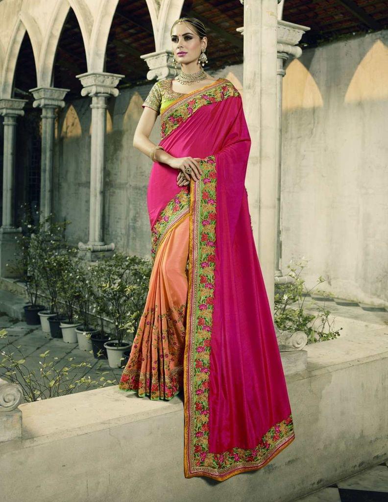 Pink & Peach (2-Tone) Color Heavy Designer Bridal Wear Saree 26770