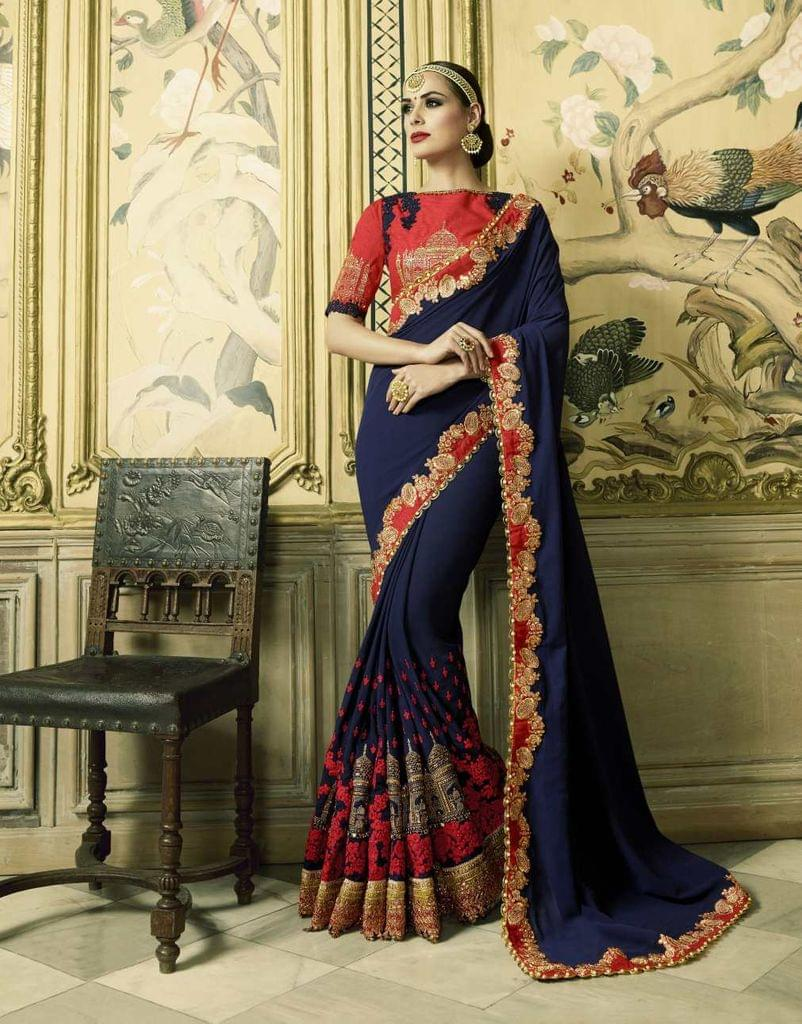 Navy Blue Color Heavy Designer Bridal Wear Saree 26767