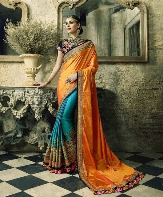 Orange & Blue(2-Tone) Color Heavy Designer Bridal Wear Saree 26771