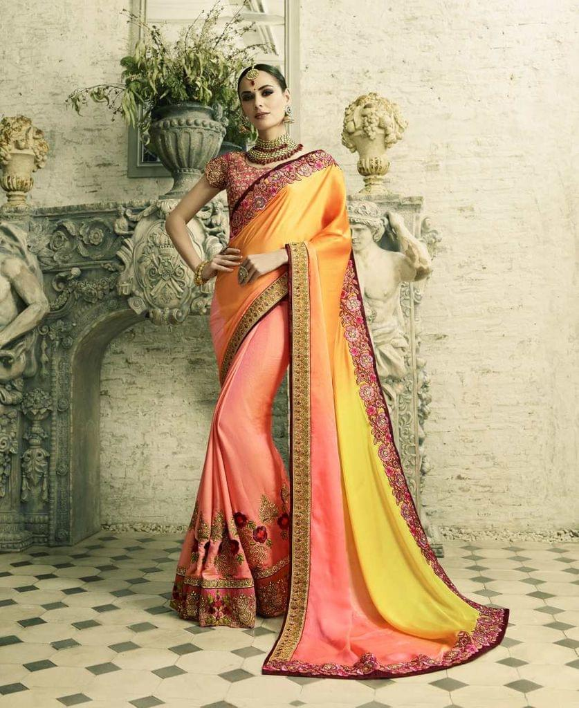 Yellow & Peach (2-Tone) Color Heavy Designer Bridal Wear Saree 26773