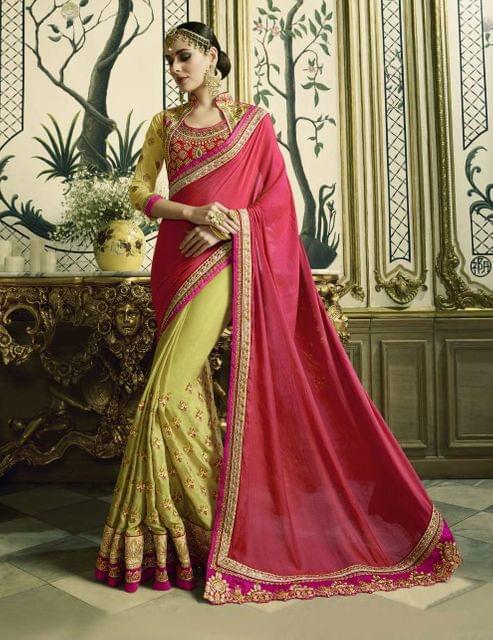 Pink & Green (2-Tone) Color Heavy Designer Bridal Wear Saree 26775