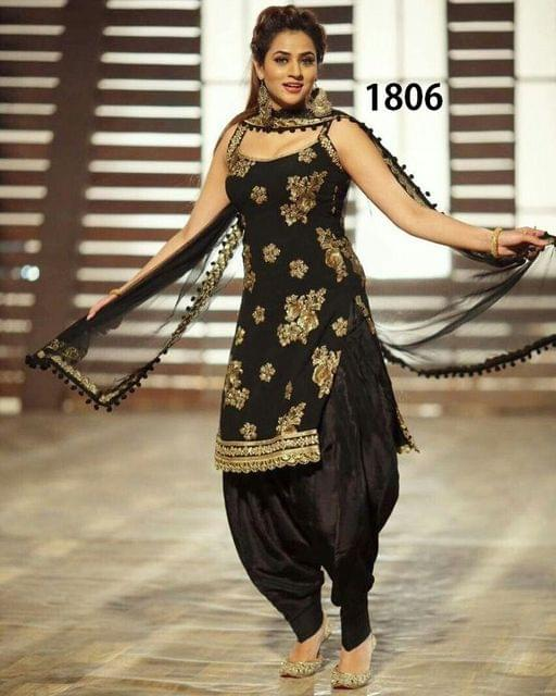 Black Color Taffeta Silk Patiala Salwar Suit 1806