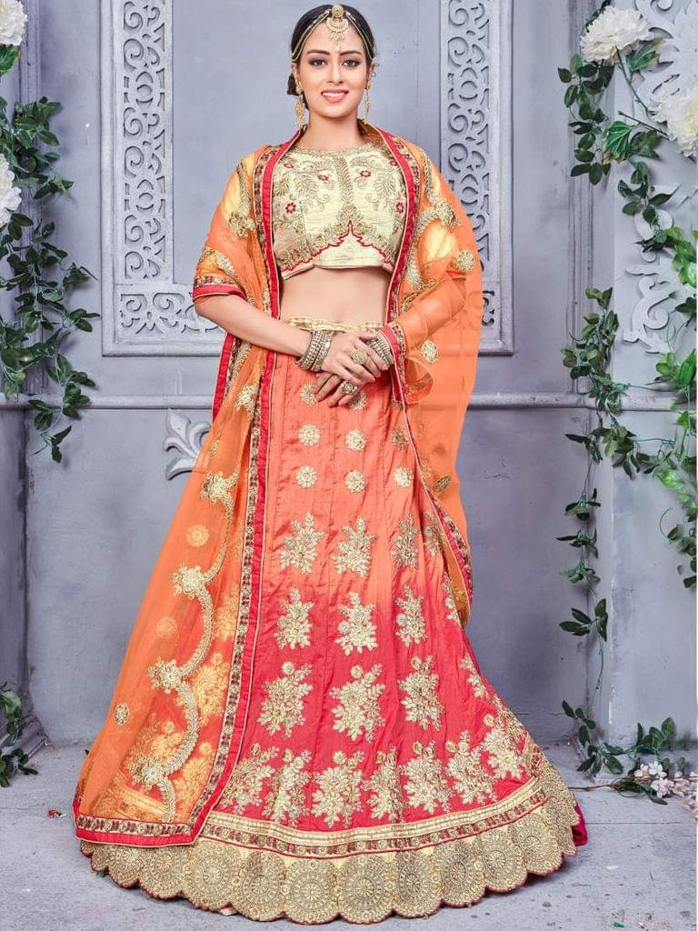 Orange Color Banarsi Silk Designer Lehenga Choli 26846