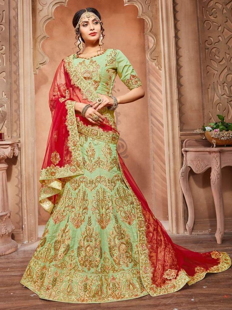 Green Color Pure Silk Designer Lehenga Choli 26851